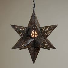 moravian star pendant light fixture made of metal with chain for ceiling