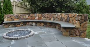 stone patio bench design