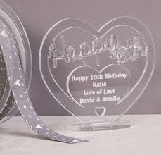 personalised acrylic freestanding heart for 18th birthday gift with message