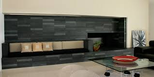 black slate tile fireplace images
