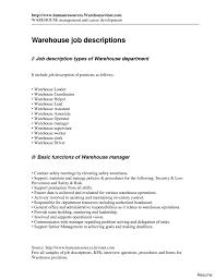 Warehouse Supervisor Job Description For Resume Warehouse Resumes Worker Sample Resume 100 Samples Templates For 25