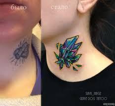 алмаз кристалл каверап тату на шее у девушки добавлено Slava