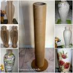 Сделать вазу из картонной трубы