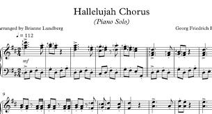 hallelujah piano sheet music hallelujah chorus piano solo sheet music musical bri