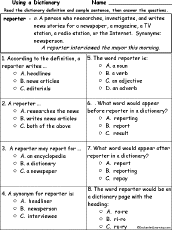 Reporter Definition Multiple Choice Comprehension Quiz