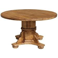 rustic pine wood round dining table in antique vintage style handmade furniture