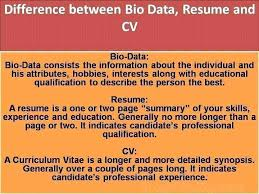 Curriculum Vitae Cv Vs Resume Fascinating Differences Between Resume Cv And Biodata Difference Bio Data
