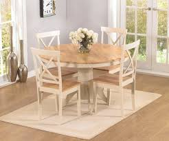 mark harris elstree oak and cream round dining table with 4 chairs