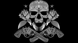 skull gun n roses 8k rk jpg