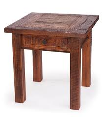 Reclaimed Wood End Table with Drawer. This reclaimed wood square end table  with drawer is