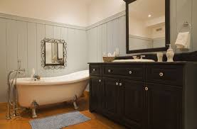 elegant bathroom vanity and clawfoot bathtub 164845703