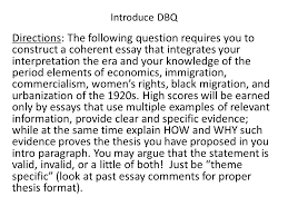 essay s introduce dbq directions the following question  introduce dbq directions the following question requires you to construct a coherent essay that integrates