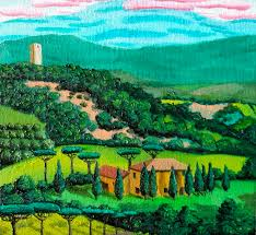 paint the scene when my partner s family and i were driving through the incredibly beautiful green and golden rolling hills of the tuscan countryside