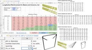 Rebar Area Chart Rebar Reinforcement Spreadsheet Rebar Takeoff Template