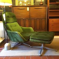 swedish made overman lounge chair and ottoman with green velour upholstery 485