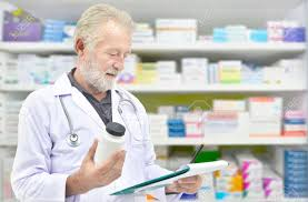 Job Chart Of Pharmacist Senior Doctor Looking Medicine Bottle And Patient Chart On Medicine