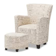 French Ottoman baxton studio benson french script patterned fabric club chair and 2494 by guidejewelry.us