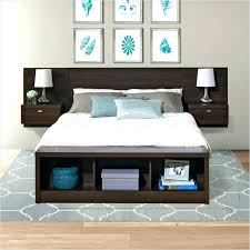 wooden headboard with shelves beds shelf headboards king size storage and lights wood room simple in