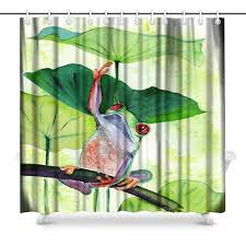 aplysia frog and lily leaves bathroom accessories shower curtain with hooks 72 inches shower curtains