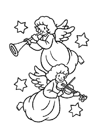 two christmas angels playing music coloring pages   angel coloring    two christmas angels playing music coloring pages