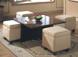 alluring round coffee table with storage ottomans