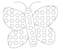 Butterfly Do A Dot Coloring Page Funnycrafts Coloring Home