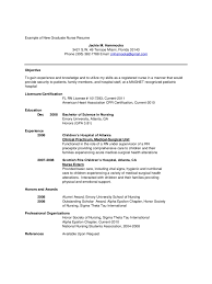 Sample New Grad Rn Resume Resume For Lvn New Grad Graduate Registered Nurse Examples Sample 87