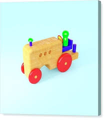wooden toy farm tractor canvas print by ride on plans