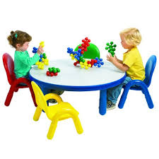 angeles baseline toddler round table and 4 chair set multiple colors