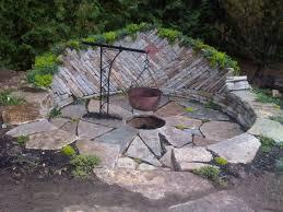 enchanting garden design with unique fire pit kit