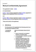 Mutual Confidentiality Agreement Mutual confidentiality agreement Non disclosure agreement 34