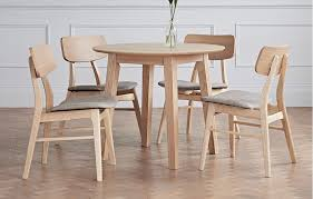 constance solid wood dining set round table 4 seats