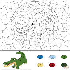 Small Picture Crocodile Color by Number Free Printable Coloring Pages