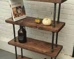 Rustic industrial pipe and wood bookcase | rustic industrial steel wood  bookcase | pipe wood furniture