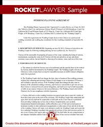 wedding planner agreement form template test event planning contract templates