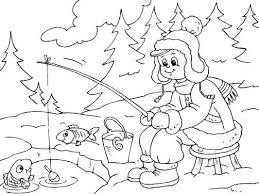 Small Picture All bundled up for some ice fishing A cute winter coloring page