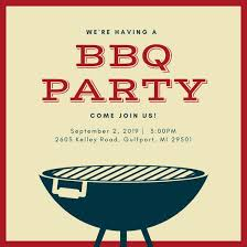 Barbeque Invitation Beige And Brown Grill Bbq Invitation Templates By Canva
