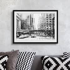 Bild Mit Rahmen Nyc Urban Schwarz Weiß Querformat 34