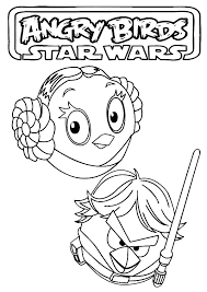 Small Picture Angry Birds Star Wars Princess Leia and Luke Skywalker Coloring