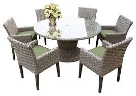 oasis 7 piece 60 round glass top patio dining set