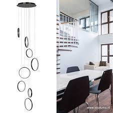 Led Vide Hanglamp Zwart Met Ringen Straluma