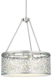 three light brushed nickel drum shade pendant
