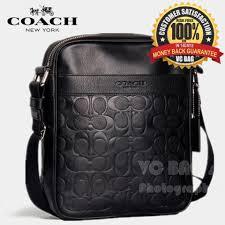 COACH F71819 Men s Charles Flight Bag in Signature Embossed Leather  Black