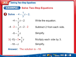 solve two step equations