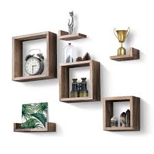 love kankei floating shelves set of 7 rustic wood wall shelves with 3 square