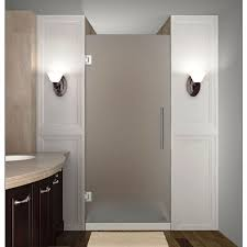 completely frameless hinged shower door with frosted