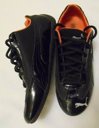 details about puma women s black patent leather mesh sneaker running shoes size 9