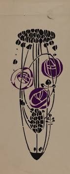 Trial in black and purple of stencil related to the stencilled back of the  armchair, designed by Charles Rennie Mackintosh for the 'Rose Boudoir',  Modern ...