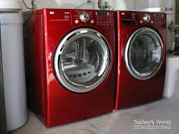 lg washer and dryer. our lg washer and dryer in wild cherry red! lg