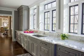 kitchen window sill. Plain Window Gray KItchen Cabinets With Marble Window Sills And Kitchen Sill A